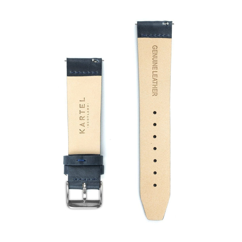 Navy Blue Flat Leather Watch Strap - 20mm Width Watch Strap - Kartel Scotland