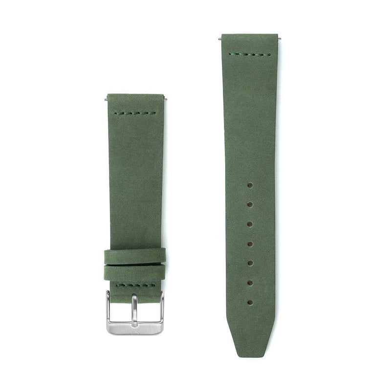 Olive Green Flat Leather Watch Strap - 20mm Width