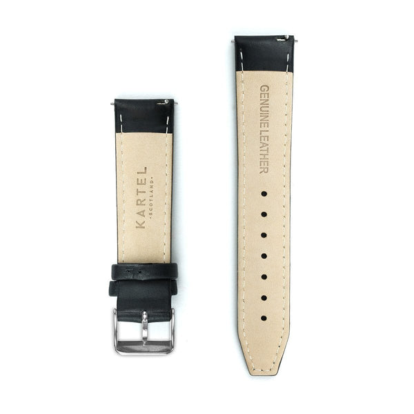 Black Stitched Leather Watch Strap - 20mm Width Watch Strap - Kartel Scotland