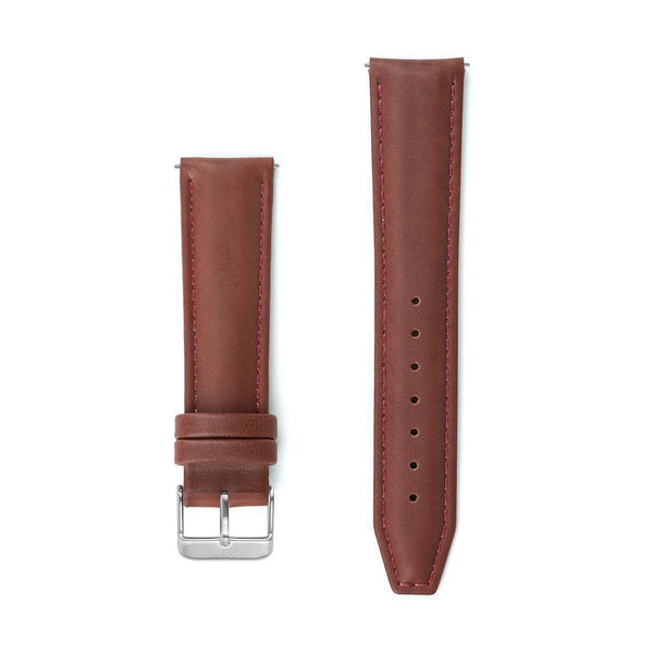 Maroon Stitched Leather Watch Strap - 20mm Width Watch Strap - Kartel Scotland