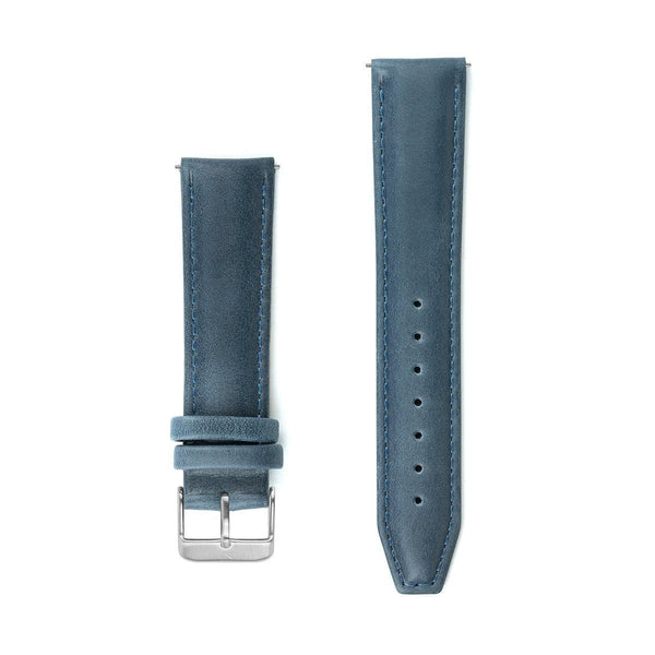 Navy Blue Stitched Leather Watch Strap - 20mm Width Watch Strap - Kartel Scotland