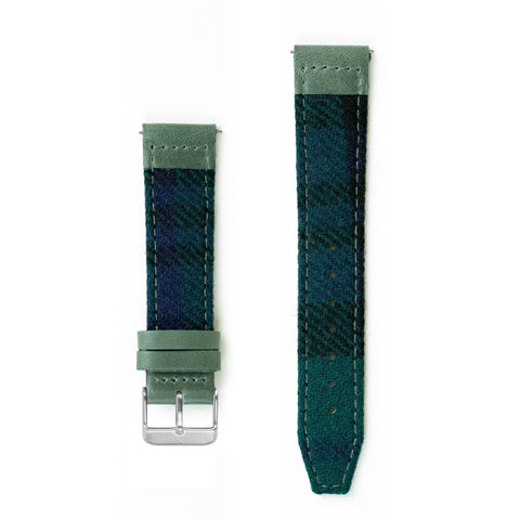 Black Watch Tartan Lambswool Watch Strap - 20mm Width Watch Strap - Kartel Scotland
