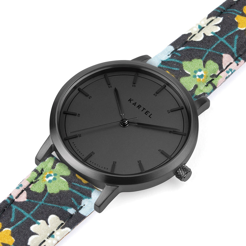 ISLA 34mm Floral Fabric Strap Watch