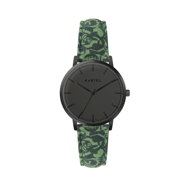 ISLA 34mm Green Fabric Strap Watch