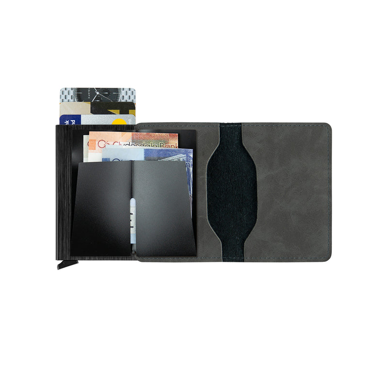 Grey Wallet With Metal Card Holder