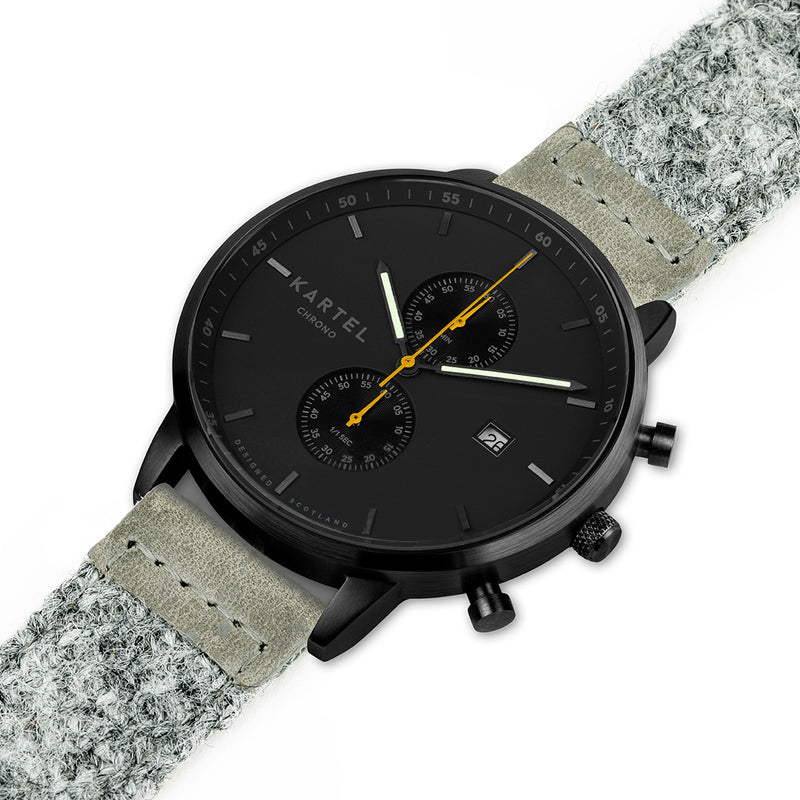 KNOYDART 43mm Grey Harris Tweed Strap Watch