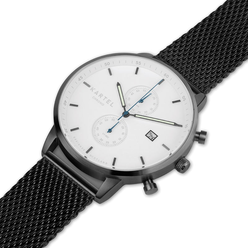 KNOYDART 43mm Black Chain Mesh Strap Watch