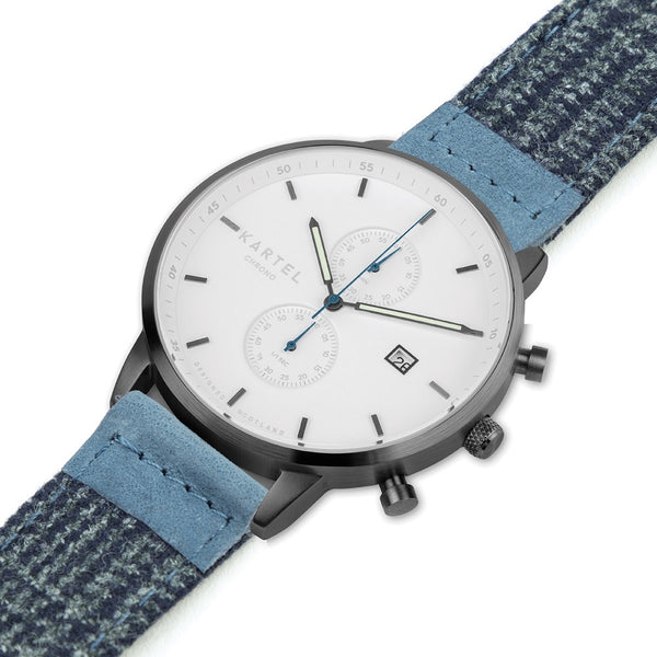 KNOYDART 43mm Blue Fabric Strap Watch