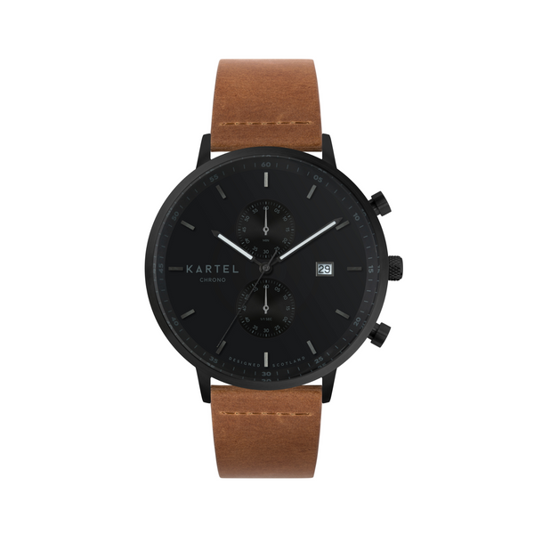 KNOYDART 43mm Black/Tan Watch