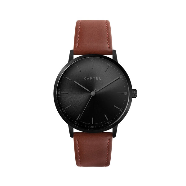 HUME 40mm Maroon Leather Strap Watch