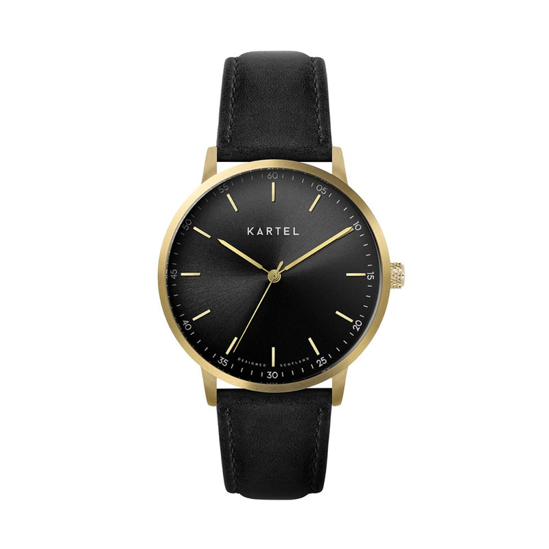 HUME 40mm Black Leather Strap Watch