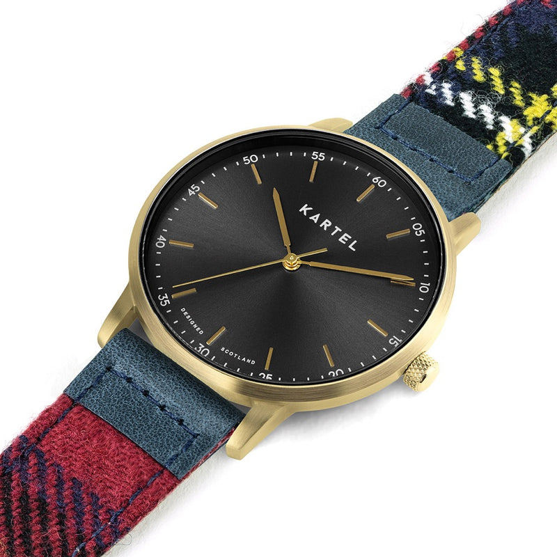 HUME 40mm Red Tartan Strap Watch