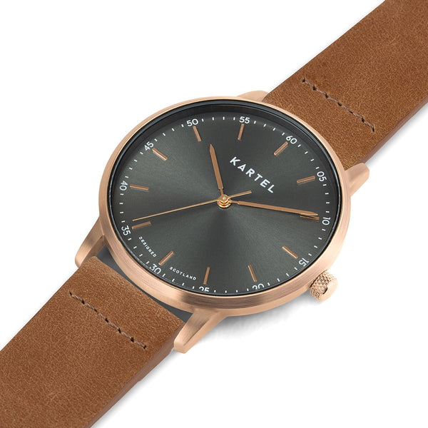 HUME 40mm Tan Leather Strap Watch