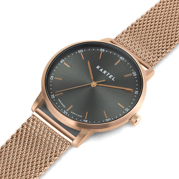 HUME 40mm Rose Gold Chain Mesh Strap Watch