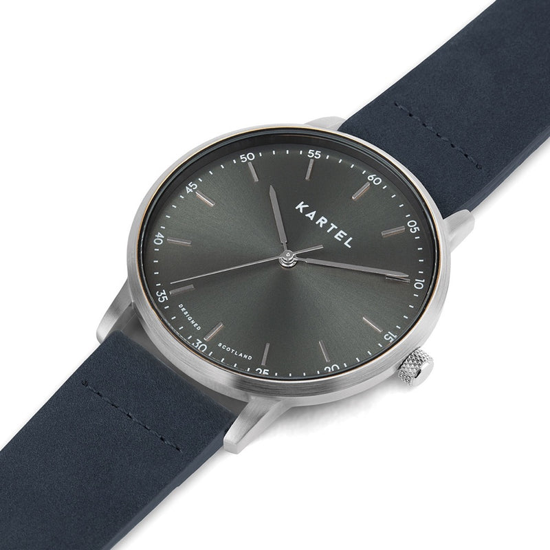 HUME 40mm Blue Leather Strap Watch