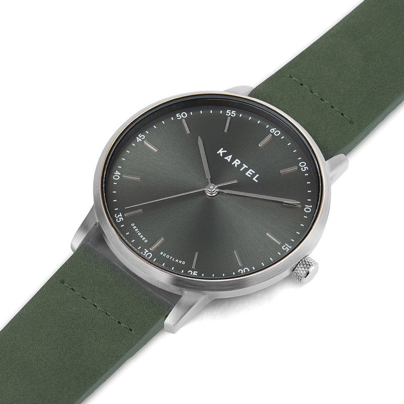 HUME 40mm Green Leather Strap Watch