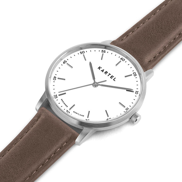 HUME 40mm Brown Leather Strap Watch