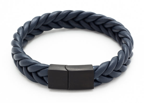 Woven Wrap Blue Leather Bracelet