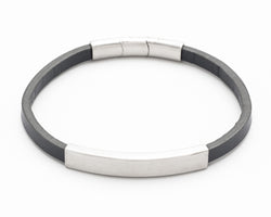 Leather and stainless-steel bracelet - Mens
