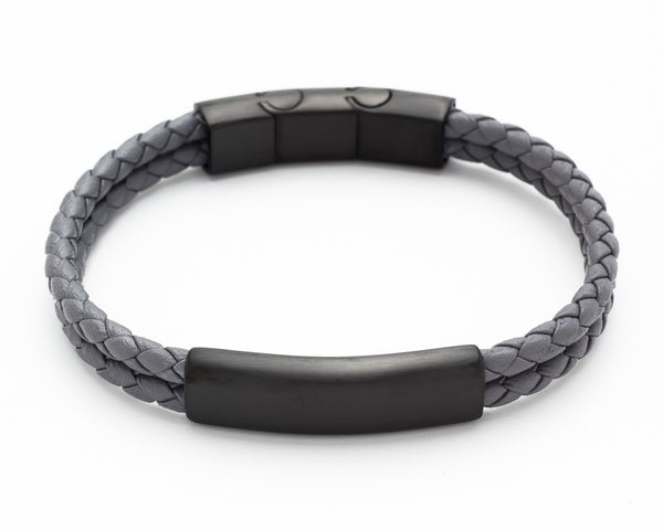 Woven Wrap Grey Leather bracelet