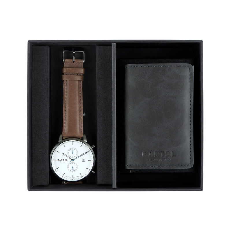 Knoydart Watch & Grey Wallet Gift Set