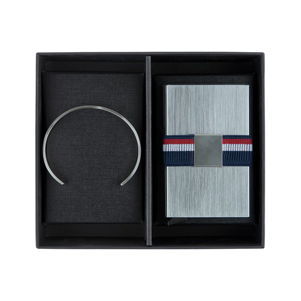 Silver Cuff & Metal Card Holder Gift Set