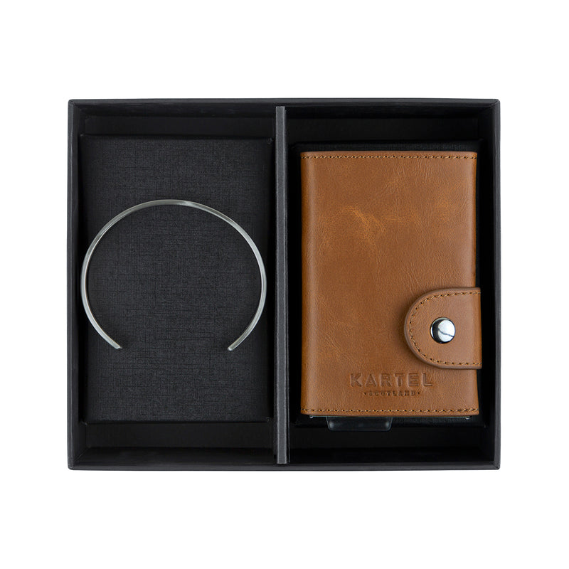 Silver Cuff & Tan Wallet Gift Set