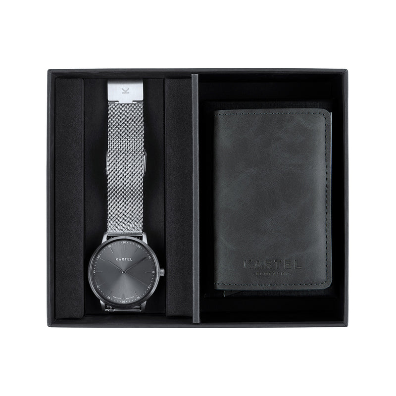 Hume Watch & Grey Wallet Gift Set