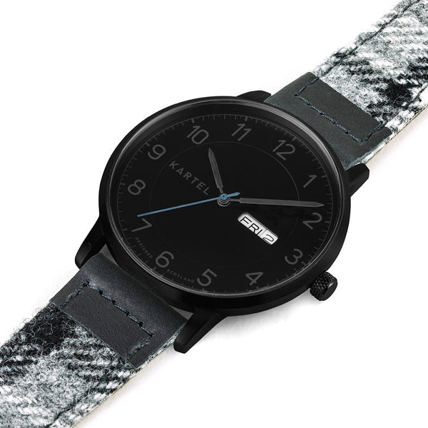 MORRIS 40mm Grey Tartan Leather Strap Watch