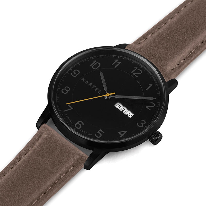 MORRIS 40mm Brown Leather Strap Watch