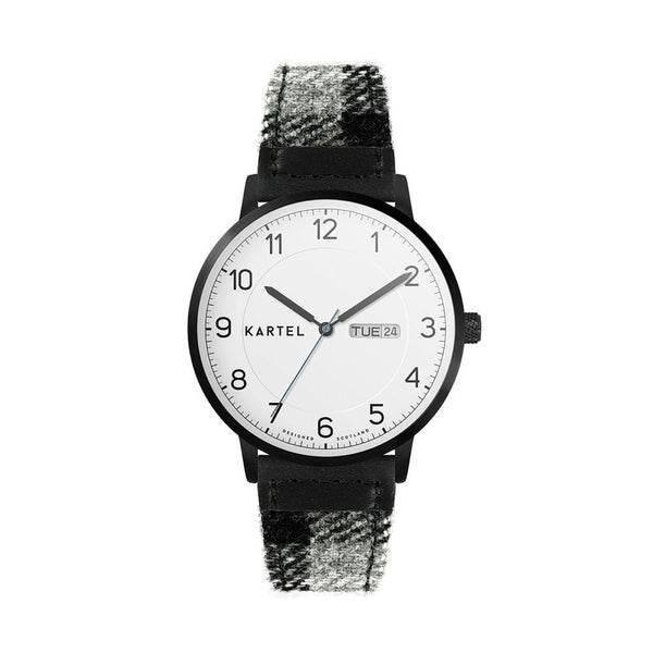 MORRIS 40mm Grey Tartan Strap Watch