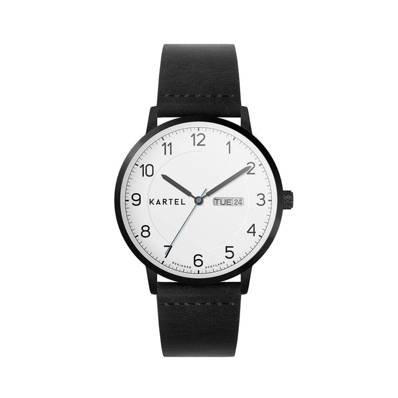 MORRIS 40mm Black Leather Strap Watch
