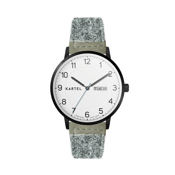 MORRIS 40mm Grey Harris Tweed Strap Watch