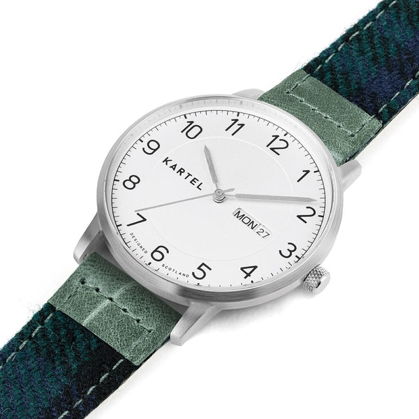 MORRIS 40mm Blue Tartan Strap Watch