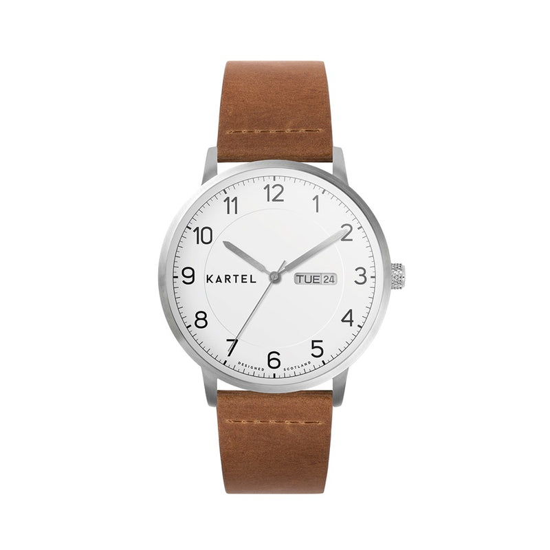 MORRIS 40mm Tan Leather Strap Watch