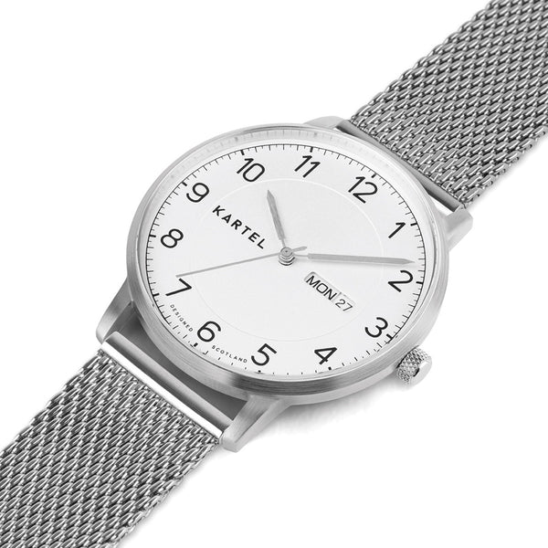 MORRIS 40mm Silver Chain Mesh Strap Watch
