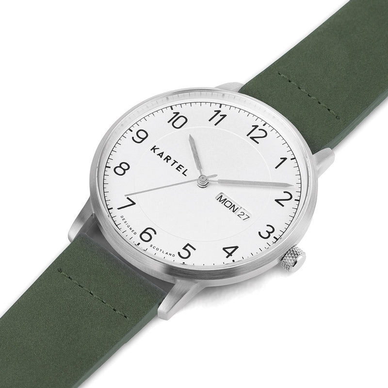MORRIS 40mm Green Leather Strap Watch
