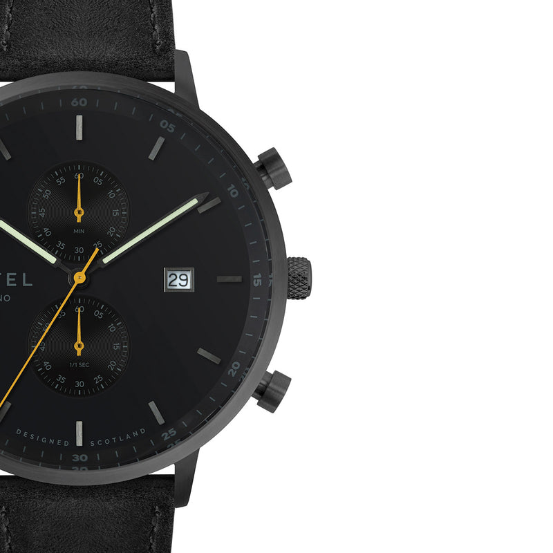 KNOYDART 43mm Black Leather Strap Watch