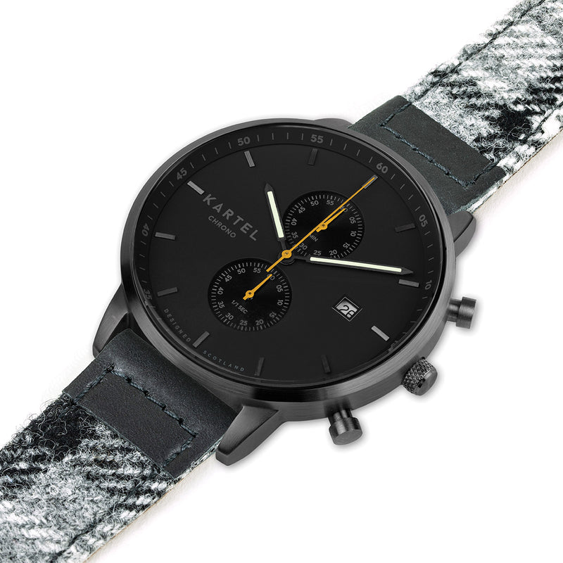 KNOYDART 43mm Grey Tartan Strap Watch