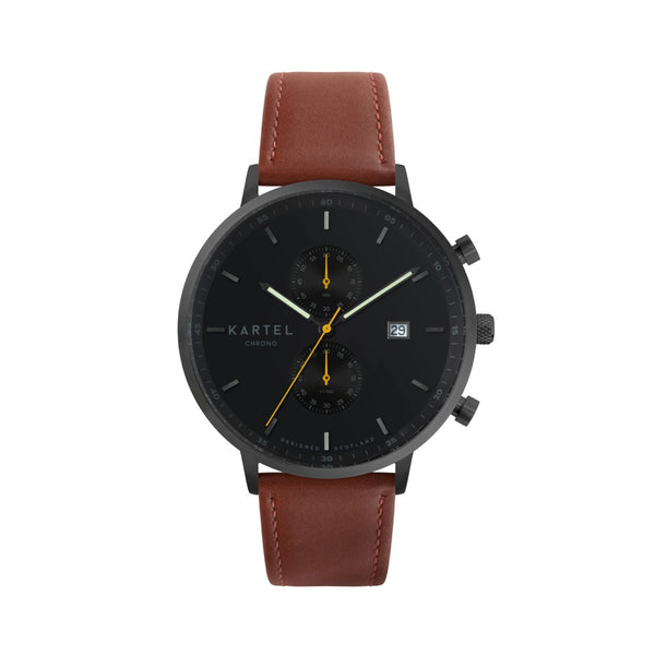 KNOYDART 43mm Maroon Leather Strap Watch