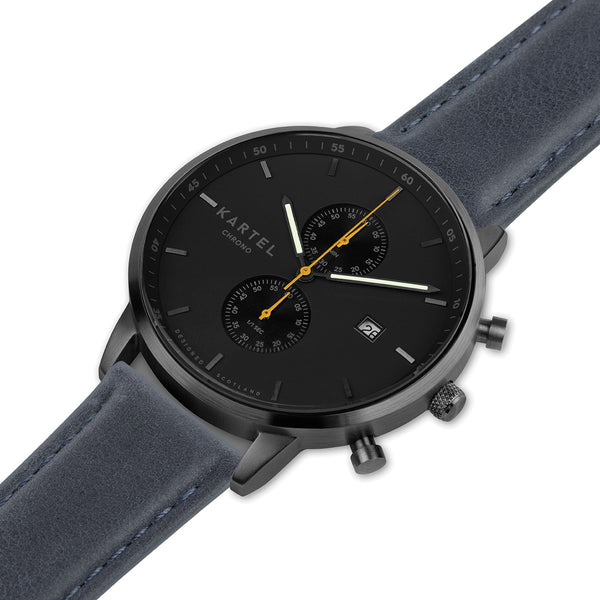 KNOYDART 43mm Blue Leather Strap Watch