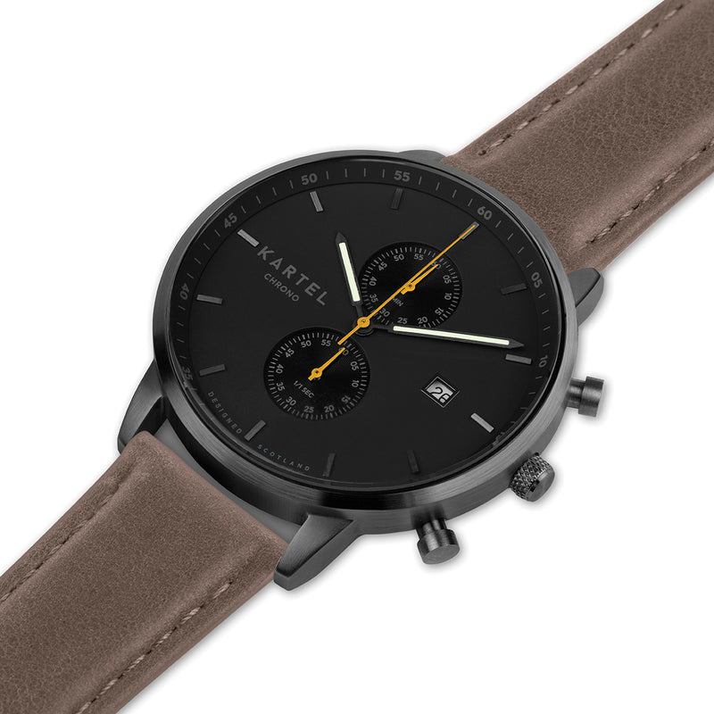 KNOYDART 43mm Brown Leather Strap Watch