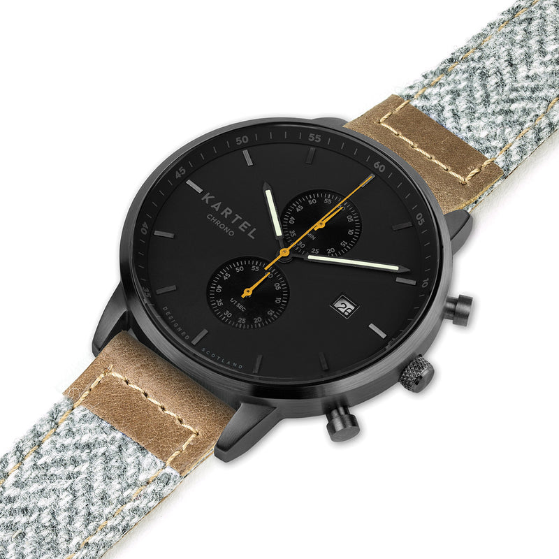 KNOYDART 43mm Grey Fabric Strap Watch