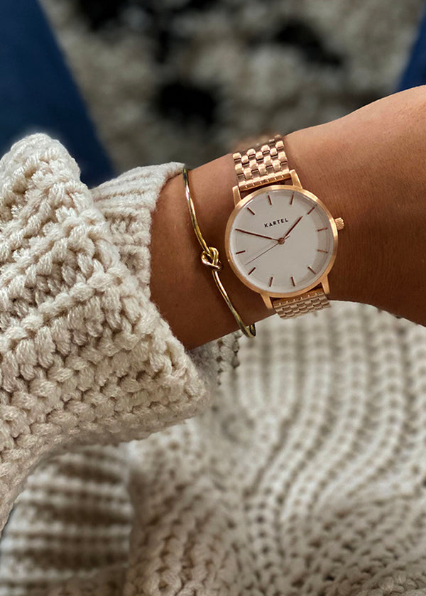 ISLA 34mm Rose Gold Chain Mesh Strap Watch