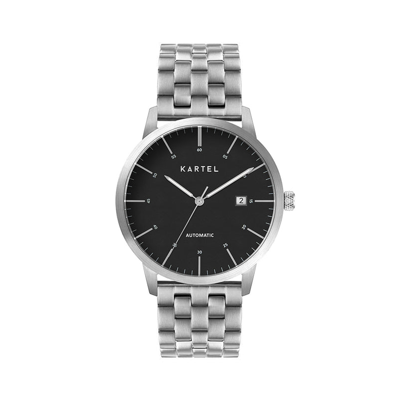 Cameron 41mm AUTOMATIC WATCH Silver Black Chunky