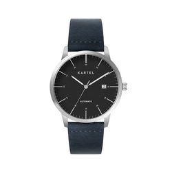 Cameron 41mm AUTOMATIC WATCH Silver Black Navy Flat