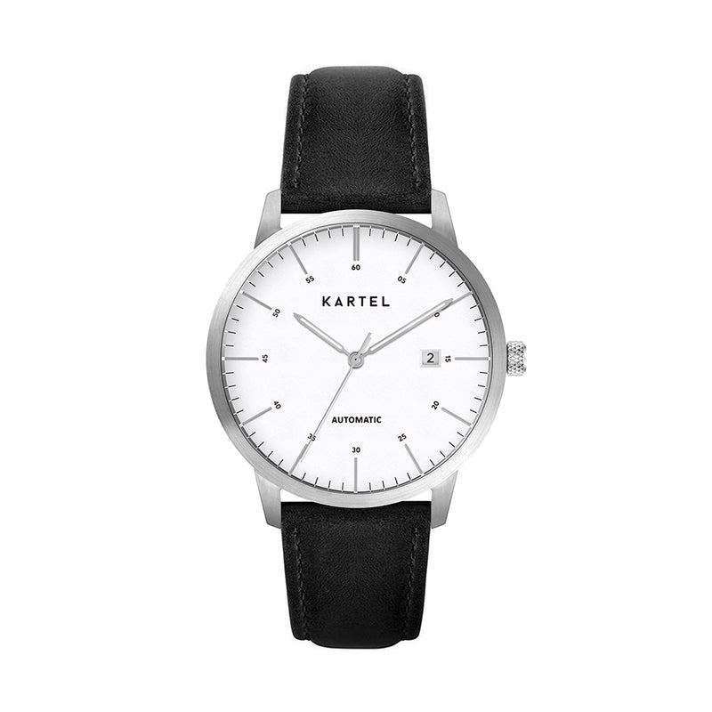 Cameron 41mm AUTOMATIC WATCH Silver White Black Stitched