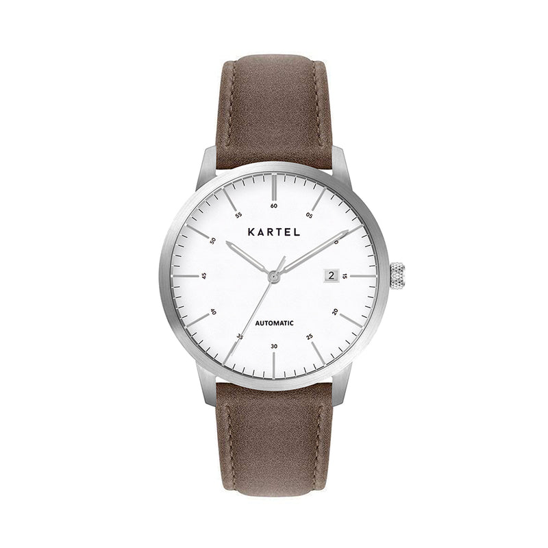 Cameron 41mm AUTOMATIC WATCH Silver White Brown Stitched