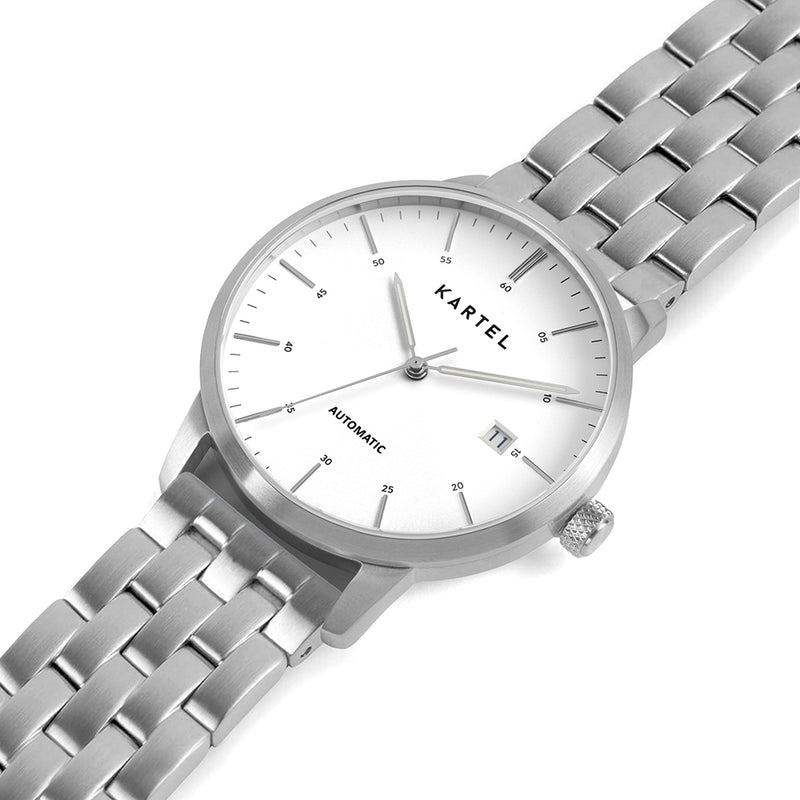 Cameron 41mm AUTOMATIC WATCH Silver White Chunky