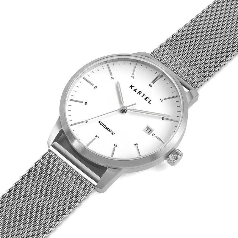 Cameron 41mm AUTOMATIC WATCH Silver White Mesh